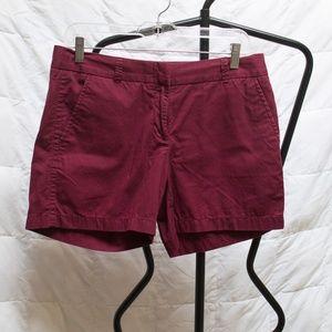 J. Crew Chino Maroon Midi Shorts Size 6